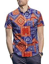 9aca3df33b35c Camisetas de Hombre Camiseta de Manga Corta con Estampado geométrico étnico  ...