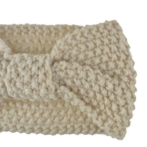 DRESHOW Damen Schleife Design Stirnband Winter Kopfband Haarband Stirnband Häkelarbeit - 3