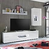 TV-Board / Lowboard Trendteam in Hochlganz Weiß lackiert - Maße (BxHxT) 200x53x42cm TV-Unterteil