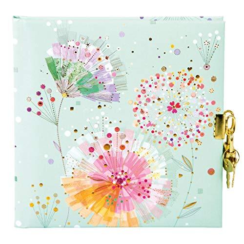 Goldbuch Tagebuch, Primavera Mint, 96 weiße Seiten, 16,5 x 16,5 cm, Schloss mit 2 Schlüsseln, Kunstdruck mit Goldprägung und Relief, Mint, 44328