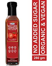 d alive Khatt-Mith Tomato Ketchup (Dipping & Cooking Sauce) - 280g (Sugar-free, Organic, Gluten-free, Low Carb, Ultra Low GI, Diabetes & Keto Friendly) - Made in Small batches, Packed in Glass Bottle