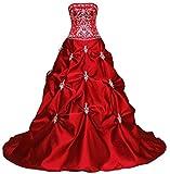 Vantexi Damen Elegante Stickerei Satin A-Linie Hochzeitskleid Brautkleider Rot Größe 50