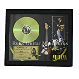 rgm8944Kurt Cobain Nirvana CD disco de oro y acero guitarra en Shadowbox marco
