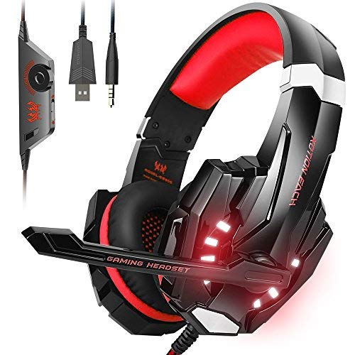 VersionTECH. Auriculares Gaming Estéreo Con Micrófono Gaming Headset Profesional Bass Over-Ear Con 3.5mm Jack,Luz LED,Bajo Ruido Compatible Para PC/Ordenador Portátil /Smartphone/PS4/Nueva Xbox One(Rojo)