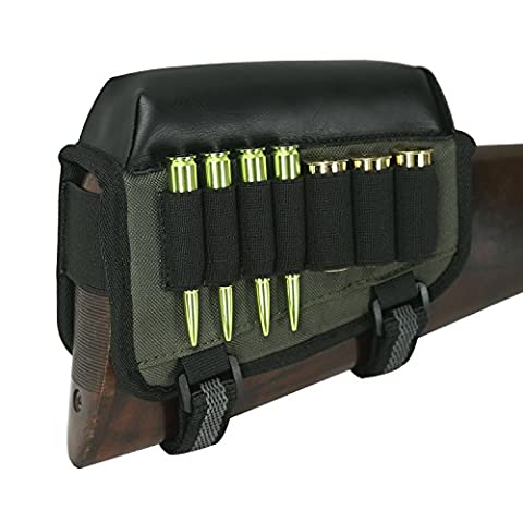 Tourbon Chasse gauche Handy Tactical Rifle Buttstock Cheek Rest Shotgun Shell support?en nylon avec cuir PU