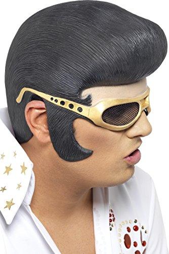 chwarzem Haar und goldener Sonnenbrille, One Size (Elvis Haare)