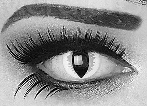 Funnylens 1 Paar farbige graue Drachenaugen Jahres Kontaktlinsen perfekt zu Halloween, Karneval und Fasching ohne Sehstärke Crazy Grey Dragon Topqualität mit Linsenbehälter und VERDREHSCHUTZ
