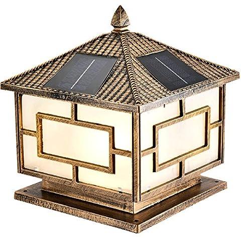 GRFH LED Solar Square Carré Lampe à tête murale Outdoor Home Garden Lamp Villa Pillar Wall Door Lights Waterproof Diameter 40cm 4000mA E27