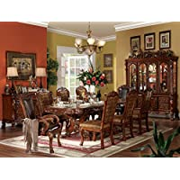 Benjara Benzara BM162895 Dresden Dining Table With two Encarved Pedestal, Brown, Wood, One size