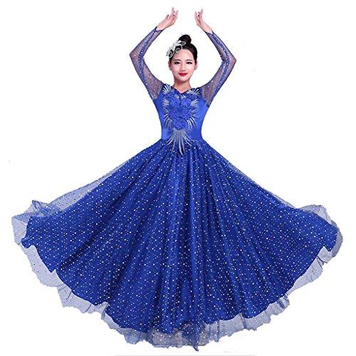 auen Tanz Lange Kleider Erwachsene eröffnung Big Rock Druck Stickerei Sequins Diamond Nation bühne aufführungen kostüme Gruppen Team Outfit modern Chorus, Blue, XXL ()