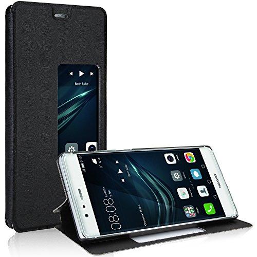 Huawei P9 Hülle, EnGive Premium PU leder Smart View Flip Case Ledertasche Tasche Für Huawei P9 (Schwarz)