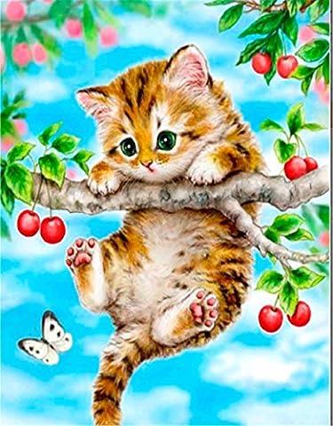 YEESAM Art nouveau 5d Diamant Peinture kit–Naughty Little Cat–DIY Cristaux Diamant De Strass Peinture Collez-le Peinture par numéro Kits point de croix à broder