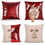 Nicolas Cage face Sequin pillow, Cuscino, Sequin Pillowcase, Federa, Two color pillow, Fift for her, Gift for him, Pillow, Magic Pillow, Mermaid Pillow Cover, Regalo di Natale