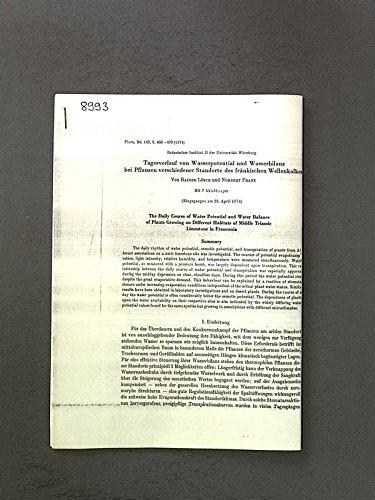 Tagesverlauf von Wasserpotential und Wasserbilanz bei Pflanzen verschiedener Standorte des fränkischen Wellenkalkes. Flora, Bd. 163, S. 466-479
