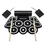 HSTV Elektronische Roll Up Drum, Elektrisches Tragbares Trainings-Batterie-Pad, Tragbare Faltende Trommel Mit 2 Pedalen Und 2 Essstäbchen Für Kinder Und Anfänger