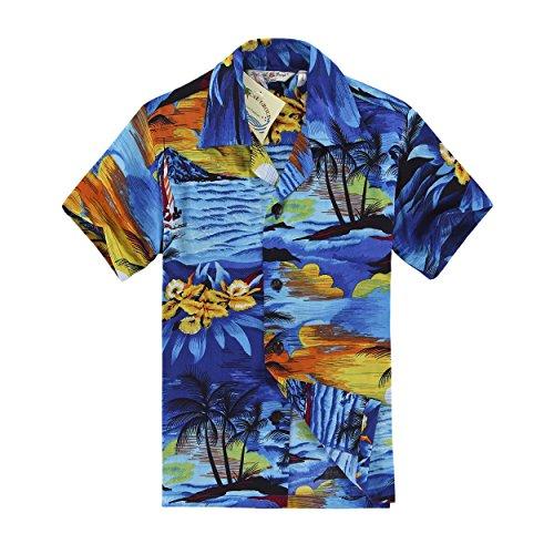 Chico-Camisa-hawaiana-de-la-hawaiana-en-tamao-azul-de-la-puesta-del-sol-14