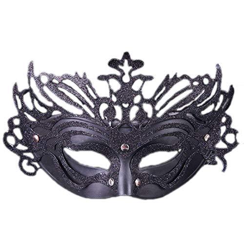 (JASNO Kinder Unisex Masquerade Half Face Gold Pulver Crown Maske Ghost Festival Kostüm Kostüm Kindertag Party 5-Teiliges Set, Multicolor,Black)