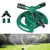 HyAiderTech Lawn Sprinkler 360° Automatico, Irrigatore Automatico da Giardino, 3 Ugelli, Irrigatore Automatico per Prato, Sistema di Irrigazione con Ampia Area con Design a Prova di Perdite
