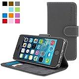 Coque iPhone 5/5s, Snugg™ - Étui à Rabat de type Flip Cover / Smart Case En Cuir Gris Avec Garantie À Vie Pour Apple iPhone 5 et iPhone 5s