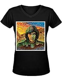 Neil Young Cartoon Women's V-Neck T Shirts XXXX-L