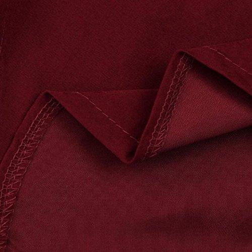 Robe Femme, Fulltime® Femmes Mode Lapel solides Robes simples avec ceinture Du vin