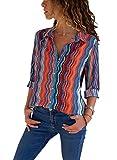 FIYOTE Damen Bluse Elegant Chiffon V-Ausschnitt Langarm Casual Oberteil Lose Langarmshirt V-Ausschnitt Vintage Tunika Hemd T-Shirt Bunt L