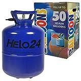 Helo Helium Ballon Gas 0,45m³ (22,3 Liter Flasche) für 50 Ballons, Einweg Helium Gasflasche mit Sperrvorrichtung und Knickventil für Einfache Befüllung