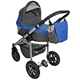 True Love Grander Kinderwagen Komplettset (Autositz & Adapter, Regenschutz, Moskitonetz, Schwenkräder) GT15 Blau & Grau