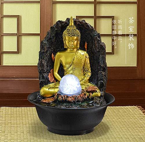 Desktop Gluckliche Ornamente Wasser Innen Brunnen Wasserfall Wohnzimmer Luftbefeuchter Sudostasien Dekoration Buddha Statue Wasserspiele