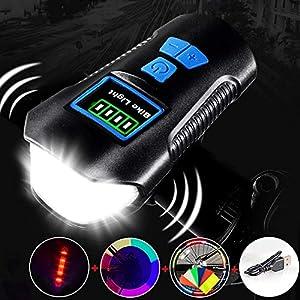 513YetGI7oL. SS300 Aakrei Luci da Bicicletta USB di Ricarica Luci da Corno Glare Torcia Accessori da Guida Accessori per la Notte Fari per…