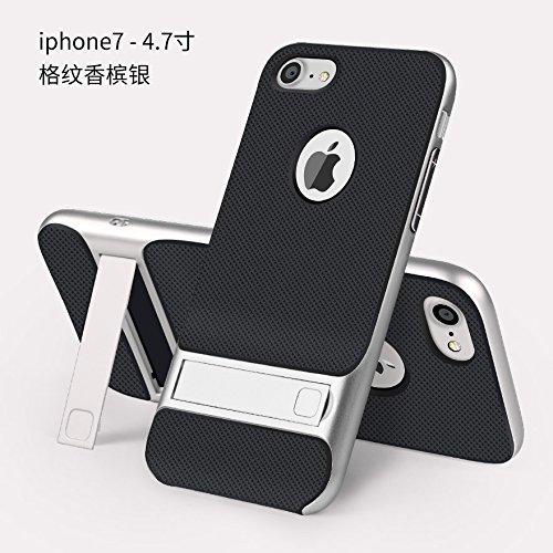 BCIT iPhone 7 Plus Hülle - Hybrid kratzfeste stoßdämpfende TPU +PC Bumper Frame Dual Layer Tasche Schutzhülle mit Ständer für iPhone 7 Plus - Grau Silber