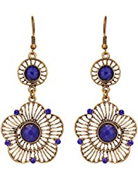 Vera Fashion Golden Alloy Dangle & Drop Earring For Women (VRFJ-06)
