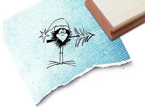 Stempel - x17b 2 - Motivstempel Bildstempel - Kleiner Rabe als Weihnachtsmann mit kleiner Tanne für Scrapbook , Artjournal , Einladungen und mehr