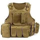 Gonex Gilet Tactique Militaire Barbarians Gilet de Combat Veste Extérieure pour Airsoft Jeu CS Militaire Cosplay Kaki