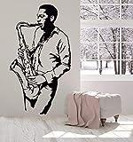 Wandaufkleber Saxophon Spieler Wandaufkleber Jazz Club Musiker Mann Spieler Wandkunst Musik Studio Wand Decorat 42 * 76 Cm
