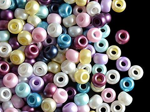 50pcs Pony Beads - Tchèque Pressée Perles de Verre sous la forme d'un Roller 5.5 mm, avec un grand trou, Alabaster Pastel Emerald