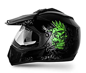 Vega Off Road OR-D/V-RGR-KG_M Ranger Full Face Graphic Helmet (Black and Green, M)
