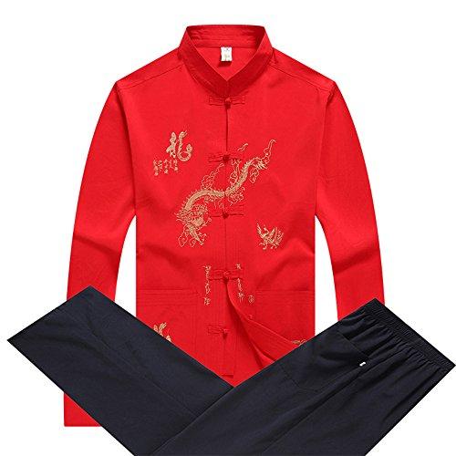 Anzug Kostüm Mao - KINDOYO Männer Tang Anzug - chinesische traditionelle Kostüm Kampfkunst Kung Fu Uniform Langarm Jacke Anzüge Shirt Outfit (Mehrfarbig)