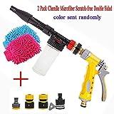 Lelestar - Pistola a spruzzo per schiuma per lavaggio auto, ugello 2-in-1, manuale, include guanti a doppio lato e ugelli per tubo da giardino