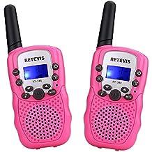 Retevis RT388 Walkie Talkies Niños PMR446 8 Canales LCD Pantalla Función VOX 10 Tonos de llamada Bloqueo de Canal Linterna Incorporado (Rosa, 1 Par)