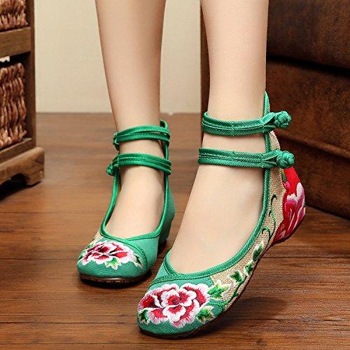 ZLL Gestickte Schuhe, Leinen, Sehnensohle, ethnischer Stil, weibliche Schuhe, Mode, bequem, Doppelgürtel Green