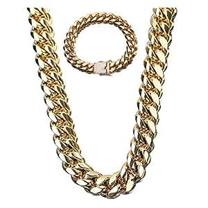 12 Mm Männer Hip Hop Rock 18 Karat Gold Cuban Chain Lock Weißer Diamant Titan Stahl Edelstahl Halskette + Armband