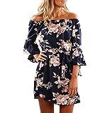 Yieune Sommerkleider Lange Ärmel Schulterkleid Blumenmuster Kurzes Strandkleid (Blau XS)