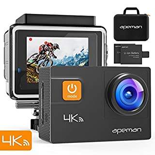 APEMAN Action Camera 4K Wi-Fi 20MP Underwater Sports Camera Waterproof 40M with EIS/170° Adjustable Wide-angle/2 1050mAh Batteries/Portable Carrying Case and 20 Mounting Accessory Kits