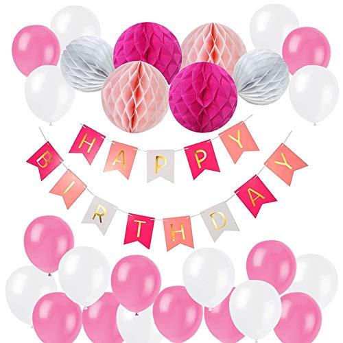 Tamaku Globos Cumpleaños, Decoraciones Fiesta de Cumpleaños con 6 Piezas Bola de Nido de Abeja y Globos de Fiesta para Decoración de Fiesta - Rosa