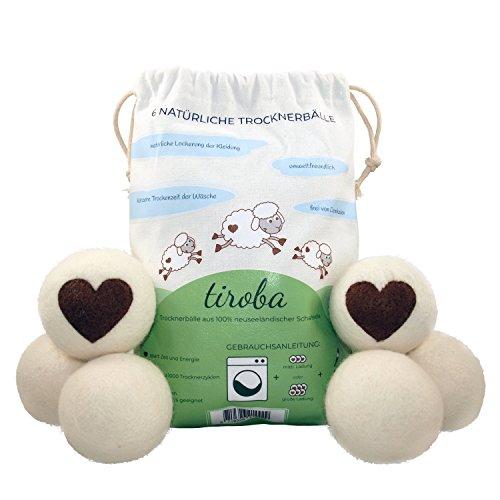 6 XL Premium Trocknerbälle aus neuseeländischer Schafwolle   schnelleres schonendes Trocknen der Wäsche   Alternative für Weichspüler   weichere Wäsche   kosten- und zeitsparend   geeignet für jede Wäsche   Wäschetrockner Bälle   Trocknerkugeln für Wäschetrockner   Wool Dryer Balls