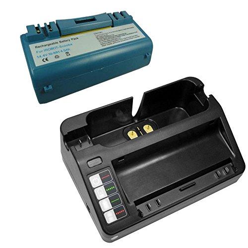 Angebot im Set: Akku Schnellladegerät + Hochleistungs Akku 4500mAh für iRobot Scooba 380 390 5832 5929 5960 6050 ersetzt APS 14904, EAN 0853816149049, SP385-BAT, SP5832, UPC 853816149049