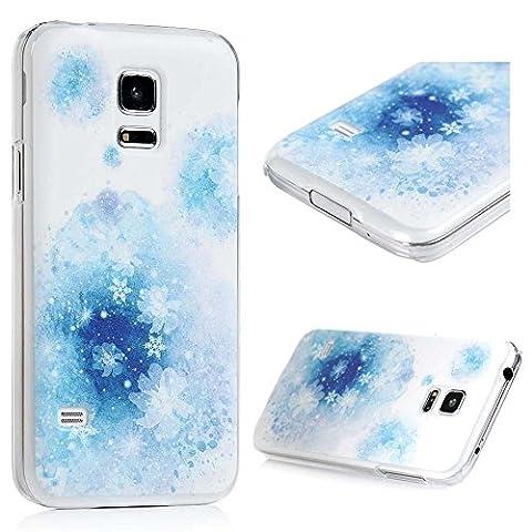 Lanveni Samsung Galaxy S5 Mini Hüllen Schnee Blumen PC Hardcase Cover Schutzhülle Case Fall Euit Bumper und Anti-Scratch Telefon-Kasten Handyhülle Handycase