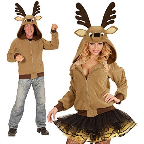 Das Sven Rentier Kostüm - NET TOYS Fleecejacke mit Kapuze Rentier Kostüm S/M Rentierkostüm Weihachten Tierkostüm Elch Straßenkarneval
