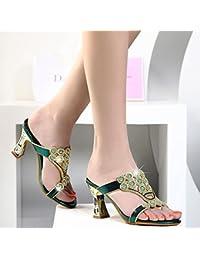 LGK&FA Diamante En Bruto Con Sandalias De Strass Hembra Hembra Zapatillas 39 Verde